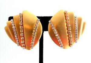"""Art Deco Earrings Large 1.5"""" Fan Shell Rhinestone Clip Gatsby Flapper Jewelry"""