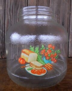 Kitsch Vintage Farmhouse Country Jar Hazel Atlas Tin Lid label with bread veggie