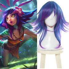LOL the Curious Chameleon Neeko Cosplay Wig Blue Medium Wavy Highlight Hair Wigs