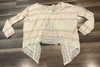 Free People Ivory Beige Boho Lace Open Back Sweater Womens Size XS NWOT