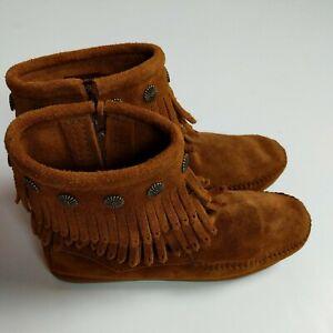 Minnetonka Double Fringe Side-Zip Womens Moccasin Boots Rubber Sole-Sz 6 Brown