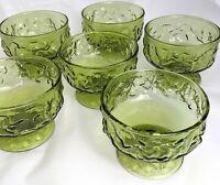 Vintage Indiana Green Glass Sherbet Dish Set