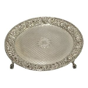 """Vintage 273.8g STERLING SILVER Repousse Floral 8"""" TRAY S. KIRK & Son Not Scrap"""
