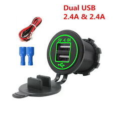 Green LED Dual USB Charger Socket Power Outlet 4.8A with Wire for Auto Car Truck