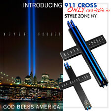 NYC WTO Never Forget 911 Memorial Stainless Steel Cross Pendant God Bless Q24