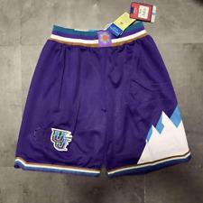 Utah Jazz Throwback Basketball Stitched Shorts White And Purple