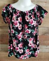 Sauci Plus 2X Womens Black Floral Print Peasant Top Short Sleeve New