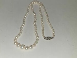 VINTAGE PEARL NECKLACE-14K CLASP-S HALLMARK-20 IN-GRADUATED IN SIZE-FRESHWATER?