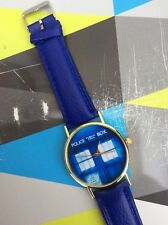 Free Gift Bag Ladies Mens Dr Who Time Lord Tardis Watch Faux Leather Blue Strap