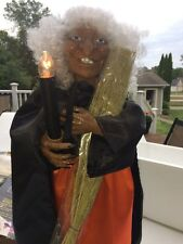 """Spooky Animated 26"""" Standing Witch Head-Hand Movement Halloween Prop Candle Lit"""