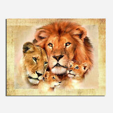 Lion Family DIY 5D Embroidery Diamant Sticker Cross Stitch Painting Home Dekor