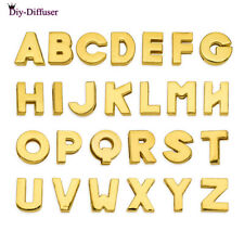 26pcs 8MM Gold Plain Slider Charm letters A-Z Fit DIY Pet Collar slider charms