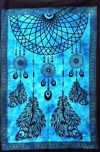 Tapestry Dream Catcher Blue Color Table Cover Cotton Handmade Small Poster