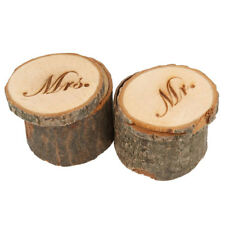 2pcs Mr & Mrs Shabby Chic Rustic Wedding Ring Pillow Holder Box Made of woo L9Q3