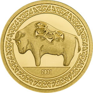 Mongolia 2021 - 1000 Togrog - Year of the Ox - 0.5g .9999 Proof Gold Coin