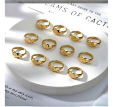 Zodiac Round Rings For Women, Stainless Steel - Gold Silver Color  size 7