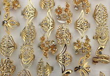 Costume Jewelry Various Lots 28pcs Gold Plated Rhinestone Noble Girl 's Big Ring