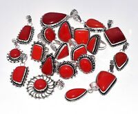Wholesale !! Mix Lot 20 Pcs. RED CORAL 925 Sterling Silver Plated Pendant Ring