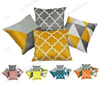 """Collection of 4 Grey Geometric Design 18"""" Cushion Covers ® Red Rainbow"""