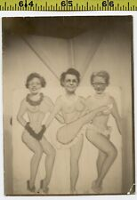 Vintage 1940's CUTOUT PROP photo / Three Nerdy ROCKETTES Kick Dancing Topless