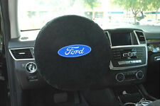 Seat Armour -Black Steering Wheel Cover w/ Ford Logo Embroidery SWA100FORB