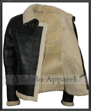 Mens B3 Flight Bomber Aviator Hooded Shearling Real Fur Winter Leather Jacket