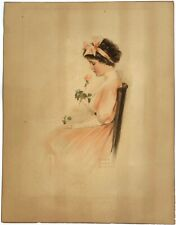 "ULTRA RARE Bessie Pease Gutmann ""BUDS"" 1909 Original Hand Color Litho Print 603"