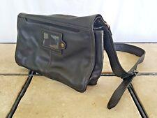Fossil Crossbody Magnetic Flap Organizer Black Leather Purse Bag EUC ZB8945