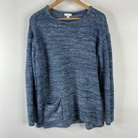 Pure J Jill Sweater Size Medium Blue Tunic Top Pocket Cotton Marled Knit Shirt