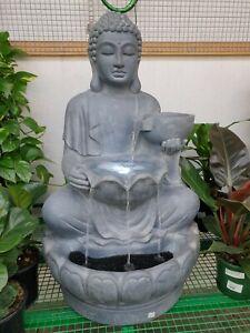 GRC Outdoor Garden Patio Water Feature Cascade Bardo Buddha Fountain Grey Lights