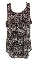 CATO Shirt Women's Medium Black White Floral Lace Print Sleeveless Blouse