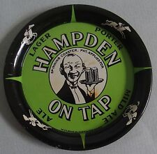 HAMPDEN BEER TIN SPINNING ADVERTISING TIP TRAY UGLY WAITER H.D. BEACH CO GREEN