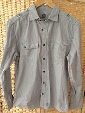 Next Men's Black & Cream Stripey Regular Fit Shirt Size Small VGC Striped Stripe
