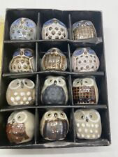 Vintage Price Products Glazed Unglazed Pottery Owl Figurines Miniature Lot of 12