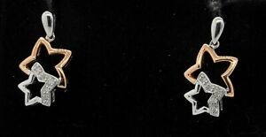 18K 2-tone gold elegant high fashion 0.10CT diamond star drop dangle earrings