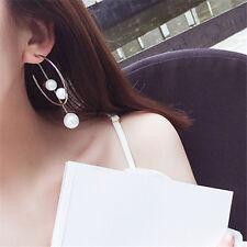 Irregular Pearl Ear Studs Jewelry Single Circle Long Chain Drop Dangle Earrings