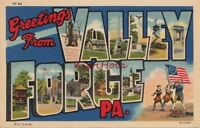 Postcard Large Letter Greetings Valley Forge PA