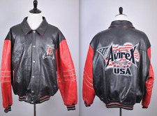 Avirex USA Leather Bomber Jacket Black Red Sz Men's 6XL