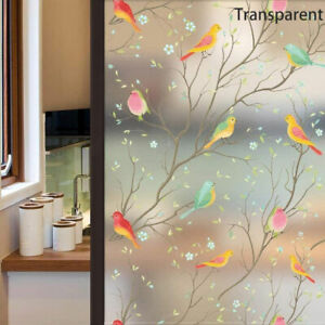 Bird Privacy Window Film Glass Static Cling Frosted Stained Sticker Home Decors