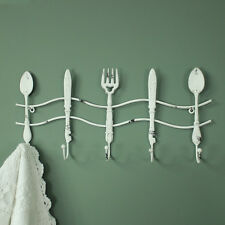 White metal set 5 cutlery design wall hooks shabby country chic kitchen storage
