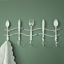 WHITE METAL SET 5 Posate Design Muro Ganci Shabby chic country cucina Storage