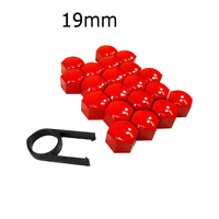 19mm RED ALLOY CAR WHEEL NUT BOLT COVERS CAPS UNIVERSAL FOR ANY CAR