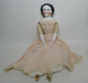 "Tall 30"" Antique German Flat Top Dark Hair China Doll Original Clothes Boots"