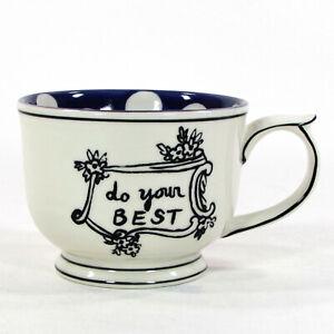 Molly Hatch DO YOUR BEST 10oz Stoneware Mug Purple Polka Dot Anthropologie Mint
