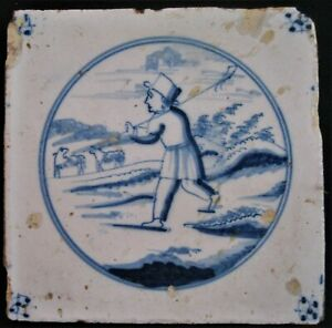 Delft Blue Tile 17th century Sheperd with 2 sheep Dutch RARE goat herd
