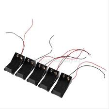 5pcs DC 9V Volt Battery Clip Holder Box Case w/ Wire Lead ON/OFF Switch Cover