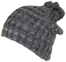 D&Y Womens Cuffed Knit Winter Beanie Hat W/Pom Pom, Cold, Snow #753 Black/Gray