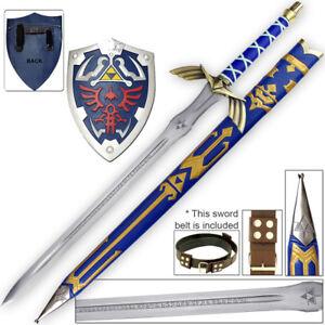 Legend of Zelda FULL TANG Master Sword Belt Shield Set 1045 Carbon Steel Sharp