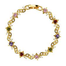 Luxury Women Chain Zircon Crystal Bangle Star Cuff Gold Bracelet Wedding Jewelry