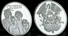 Queen Silver Coin Pop Group 70s 80s Retro London Live Aid Logo English Band Old